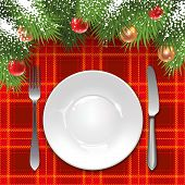 Christmas menu template with holiday decorations and tartan tablecloth.