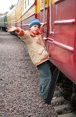 Boy On Footboard Of Passenger Wagon