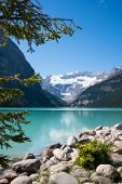 Lake Louise And Glacier Vertical