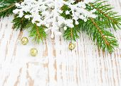 foto of winterberry  - Christmas border with pine tree on a wooden background - JPG