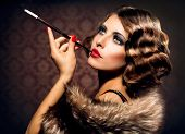 stock photo of cigar  - Retro Woman Portrait - JPG