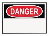 stock photo of osha  - OSHA danger warning sign with copy space isolated on white - JPG