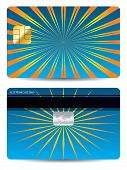 Bursting Orange Rays On Blue Bank Card