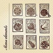 Menu elements - dishes