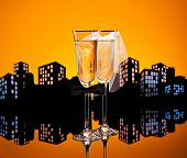 stock photo of hetero  - Metropolis Champagne glasses with conceptual same sex decoration Lesbian - JPG