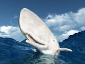stock photo of encounter  - Computer generated 3D illustration with a Sperm Whale - JPG