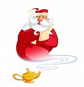 Happy Smiling Cartoon Genie Santa Claus Coming Out Of A Magic Oil Lamp