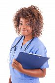 African Young Nurse Isolated On White Background