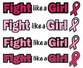 stock photo of mammogram  - Fight like a Girl phrase with Breast Cancer Awareness ribbon - JPG