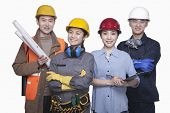 stock photo of friendship belt  - Group of construction workers standing against white background - JPG