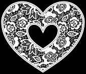picture of applique  - illustration of embroidery lace heart applique isolated on black - JPG