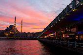 Galata Bridge And Eminonu New Mosque, Istanbul, Turkey