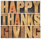 Happy Thanksgiving  - isolated text in vintage letterpress wood type blocks scaled to a rectangle sh