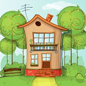 foto of street-art  - Illustration of street with house and trees in Vector - JPG