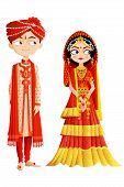 stock photo of indian sari  - easy to edit vector illustration of Indian wedding couple - JPG