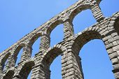 view of the aqueduct of Segovia, Castilla Leon, Spain