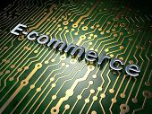 Finance concept: E-commerce on circuit board background