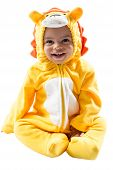 Black child boy,dressed in lion carnival suit, isolated on white background. Baby zodiac - sign Leo.