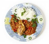 High angle view of grilled marinaded chicken served with a spice tomato and red capsicum salsa, in t