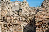 Broken Stone And Brick Walls In Pompeii