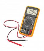 stock photo of ohm  - Digital multimeter isolated on white background - JPG