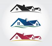 foto of roofs  - Home Design Icons Set of roof Vector icon - JPG
