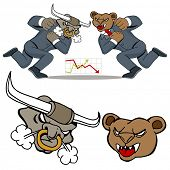 An image of a bull bear stock market battle.