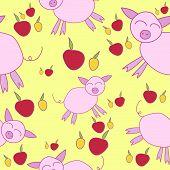 Seamless Pattern With Cartoony Pigs