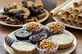 foto of sabbatical  - Collection of sweet pastries and rolled wafers - JPG