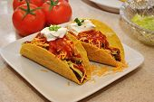 pic of scallion  - Tacos Topped with Sour Cream and Scallions with Fresh Tomatoes