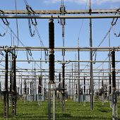 stock photo of substation  - An electrical substation with transformers and resistors energy and electricity topic - JPG
