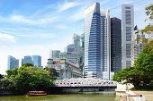 Singapore skyline with Cavenah Bridge.