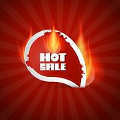 Dark Red Hot Sale Label With Flames