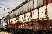 Abandoned rusty railcars