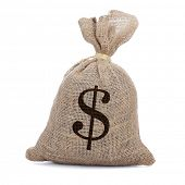 a burlap money bag tied with a string on a white background
