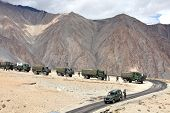 JAMMU & KASHMIR, INDIA - SEPTEMBER 04, 2011: Indian army convoy of trucks delivering supplies to remote military installations in Himalayas