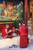 LADAKH, JAMMU & KASHMIR, INDIA - AUGUST 30, 2011: Unidentified young monks at Lamayury gompa (monast