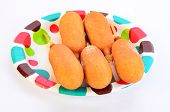 image of frozen tv dinner  - Five frozen corn dogs  - JPG