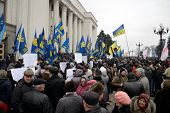 KIEV, UKRAINE - February 27, 2014: Ukrainian revolution. Demonstration in front of the Supreme Counc