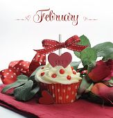 Beautiful Red Heart Valentine Theme Cupcake With Roses And Decorations For The Month Of February Wit