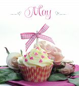 Beautiful Pink Heart Or Mothers Day Theme Cupcake With Seasonal Flowers And Decorations For The Mont