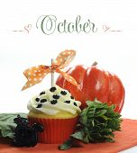 Beautiful Orange Halloween Theme Cupcake With Seasonal Flowers And Decorations For The Month Of Octo
