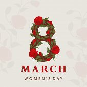 International Happy Women's Day celebration concept with floral decorated text 8th March on seamless abstract background.