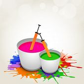 Indian colour festival Happy Holi celebrations concept with buckets full of water colours and pickar