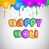 Indian festival Happy Holi celebrations with glossy stylish text on colourful splash background.
