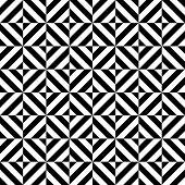 Black and white geometric diamond shape seamless pattern, vector