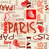 art seamless vector pattern background with word Paris