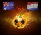 stock photo of holland flag  - Hot soccer ball in fires flame - JPG