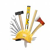 stock photo of mohawk  - Construction helmet with the Mohawk of tools - JPG