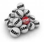 Asset Word Ball Pyramid Savings Investment Wealth Value